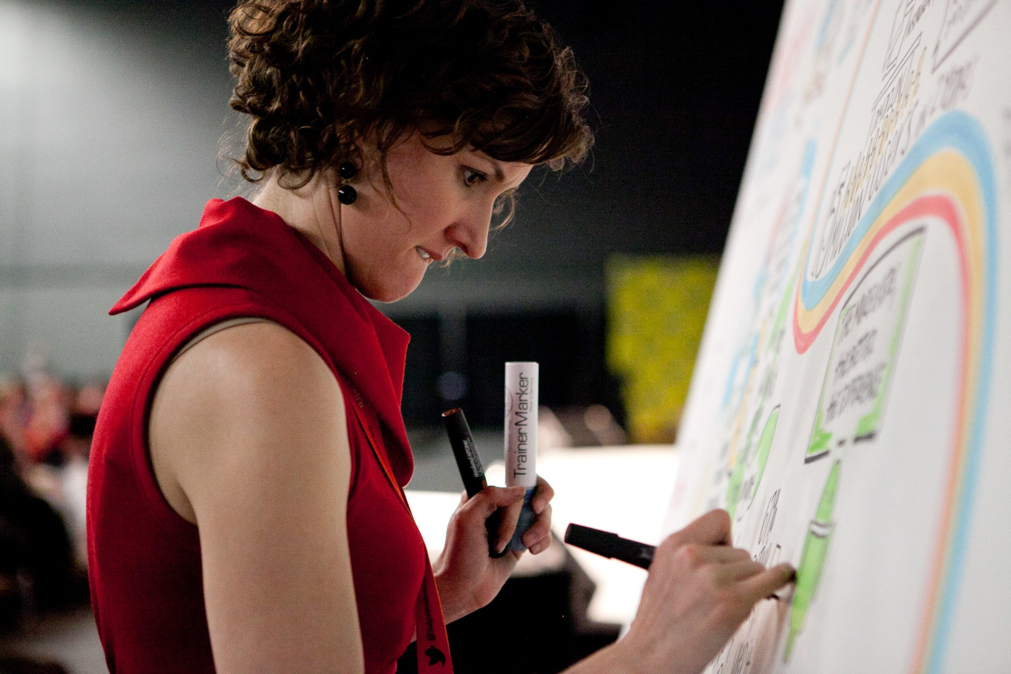 ImageThink founder, CEO, and Visual Leader Nora Herting graphic recording, using a traditional foam core board and markers.